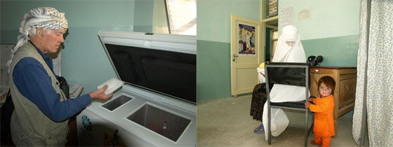 Vaccine refrigerator and consulting room at Safied Chihr MCH Clinic